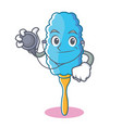 doctor feather duster character cartoon vector image vector image