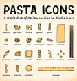 doodle icons various pasta types vector image vector image