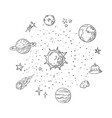 doodle solar system trendy handdrawn space vector image