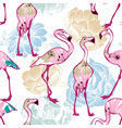 Exotic seamless pattern flowers and flamingos vector image vector image