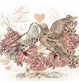 fashion valentine card with birds and roses vector image vector image