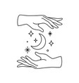female hands logo icon in minimal linear style vector image