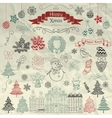 hand drawn artistic christmas doodle icons vector image