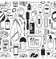 hand drawn seamless pattern with cosmetics vector image