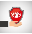 hand holding eye shield protection data vector image vector image