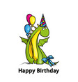 happy birthday cute cartoon dragon wearing party vector image vector image