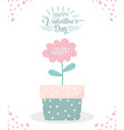 happy valentines day potted flower decoration vector image vector image