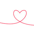 heart in continuous drawing lines continuous vector image