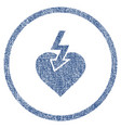 heart shock strike rounded fabric textured icon vector image vector image