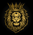 lion head angry gold on black background vector image vector image