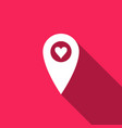 map pointer with heart icon isolated with long vector image vector image
