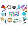 online course doodle art with paper background vector image vector image