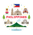 philippines travel attraction label vector image vector image