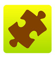 puzzle piece sign brown icon at green vector image