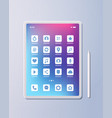 realistic tablet pc mobile application icons vector image