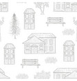 retro houses fir tree bench seamless pattern vector image vector image