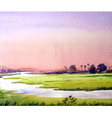 Rural sunset watercolor painting verson