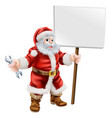 santa holding spanner and sign vector image vector image