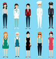 set colorful profession woman flat style vector image vector image