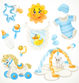 Set of blue baby toys objects clothes and things vector image vector image