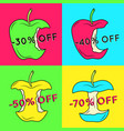 set of summer sale backgrounds with apple vector image