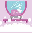 soap on shelf and mirror cartoon bathroom vector image vector image