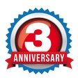 Three years anniversary badge with red ribbon vector image