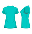 turquoise womans t-shirt template in back and vector image