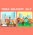 twenty four hours pizza delivery web banner vector image vector image