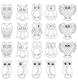 Twenty funny owls black outlines vector image vector image