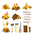 wood campfire tree logs pile branches vector image