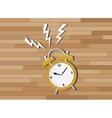 yellow clock deadline with wood background vector image vector image