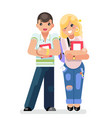 young students teen boy girl modern fashion book vector image vector image
