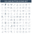 100 button icons vector image vector image
