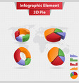 4 different infographic element 3d pie chart vector image vector image