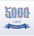 5000 likes thank you number with emoji and heart vector image vector image