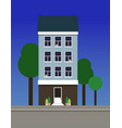 a multi-storey narrow dwelling house made of blue vector image vector image