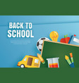back to school banner with education items on vector image vector image