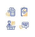 bill accounting exhibitors and report icons set vector image vector image