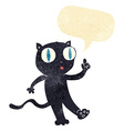 cartoon black cat with idea with speech bubble vector image vector image