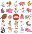 cartoon farm animal characters large set vector image vector image