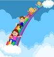 Cartoon Kids Sliding Down a Rainbow vector image vector image