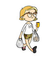 cute cartoon girl carrying store bags and coffee vector image vector image