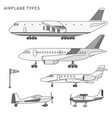 different airplanes types flat isolated line vector image