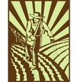 Farmer sowing seeds with sunburst vector image vector image