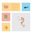 flat icon marine set of hippocampus fish sea vector image vector image