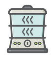 food steamer colorful line icon kitchen appliance vector image