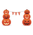 funny smiling pumpkins with inscription boo vector image