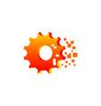 gear mechanism pixel logo vector image