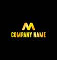 golden letter m emblem with black background vector image vector image